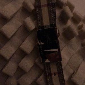 Ladies Burberry silver buckle belt